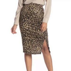Pleione Leopard Animal Print Midi Bodycon Skirt